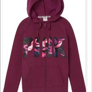 VS Pink Jacket, maroon/floral lettering